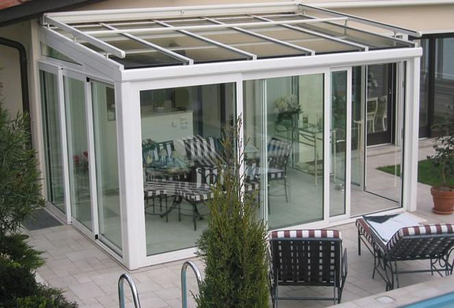 Giardini d 39 inverno e pergolati in vetro con tettoie fisse - Verande giardino d inverno ...