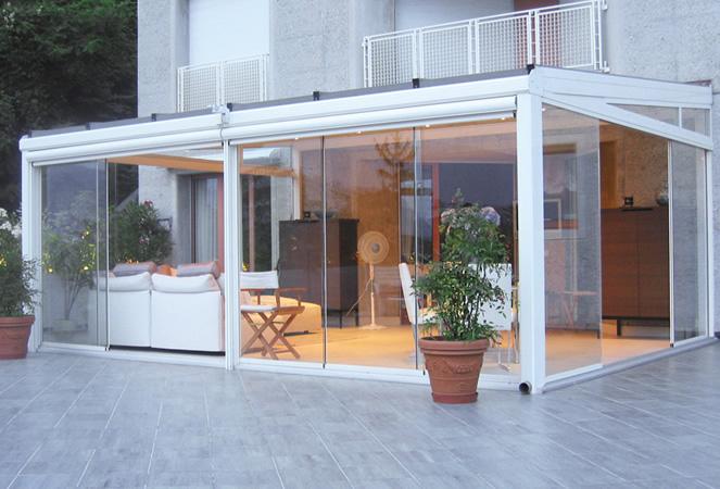 Veranda in ferro battuto e vetro con realizzazione giardini d